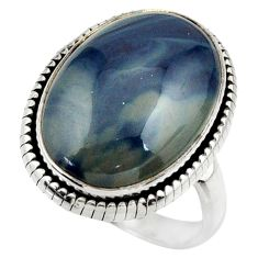 925 silver 14.37cts natural blue swedish slag solitaire ring size 8 r28596