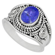 925 silver 2.01cts natural blue tanzanite faceted solitaire ring size 7 r60806