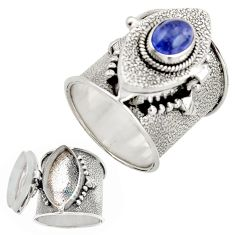 925 silver 2.45cts natural blue tanzanite oval poison box ring size 9.5 r26649
