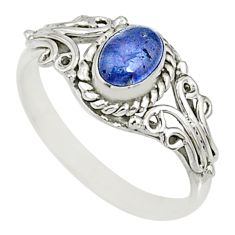 925 silver 1.36cts natural blue tanzanite oval solitaire ring size 9 r82451
