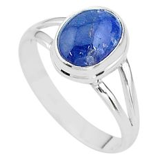 925 silver 4.06cts natural blue tanzanite oval solitaire ring size 9 t13008