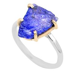 925 silver 5.22cts natural blue tanzanite raw 14k gold ring size 7 t47132