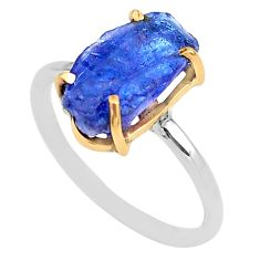 925 silver 6.19cts natural blue tanzanite raw 14k gold ring size 9 t47128
