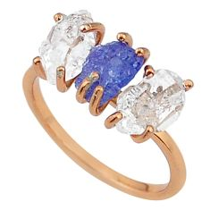 6.64cts natural blue tanzanite raw 14k rose gold handmade ring size 8 t14015