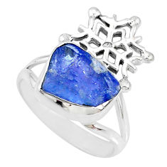 925 silver 6.10cts natural blue tanzanite raw fancy shape ring size 8 r74027