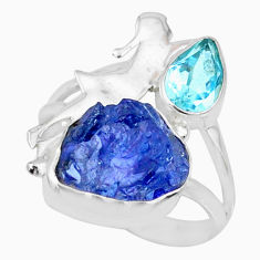 925 silver 8.06cts natural blue tanzanite raw fancy topaz ring size 7 r74023