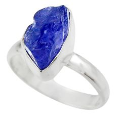 925 silver 6.03cts natural blue tanzanite rough solitaire ring size 7.5 r29589