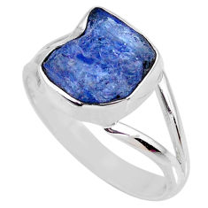 925 silver 5.24cts natural blue tanzanite rough solitaire ring size 9.5 r61895
