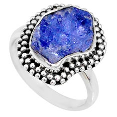 925 silver 5.63cts natural blue tanzanite raw solitaire ring size 6.5 r66739