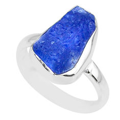 925 silver 7.41cts natural blue tanzanite raw solitaire ring size 8.5 r91804