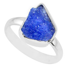 925 silver 5.84cts natural blue tanzanite raw solitaire ring size 8.5 r91839