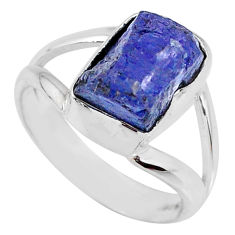 925 silver 5.54cts natural blue tanzanite rough solitaire ring size 6 r61875