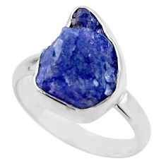 925 silver 6.70cts natural blue tanzanite rough solitaire ring size 7 r29564