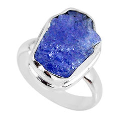 925 silver 7.40cts natural blue tanzanite rough solitaire ring size 7 r61836