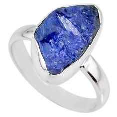 925 silver 5.81cts natural blue tanzanite rough solitaire ring size 8 r61869