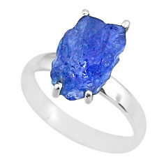 925 silver 6.27cts natural blue tanzanite raw solitaire ring size 8 r91764