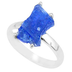 925 silver 6.56cts natural blue tanzanite raw solitaire ring size 9 r91775