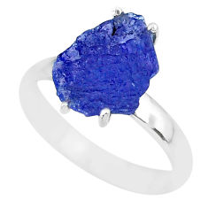 925 silver 5.15cts natural blue tanzanite raw solitaire ring size 9 r91779