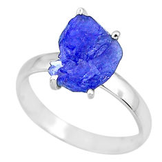 925 silver 5.90cts natural blue tanzanite raw solitaire ring size 9 r91797