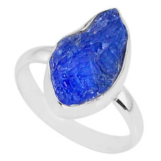 925 silver 7.60cts natural blue tanzanite raw solitaire ring size 9 r91825