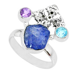925 silver 7.97cts natural blue tanzanite raw topaz cross ring size 7 r74032