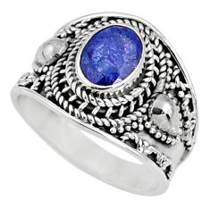 925 silver 1.94cts natural blue tanzanite solitaire ring faceted size 7.5 r60804