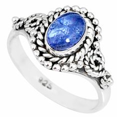 925 silver 1.45cts natural blue tanzanite solitaire handmade ring size 6 r82234