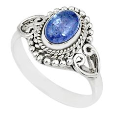 925 silver 1.52cts natural blue tanzanite solitaire ring jewelry size 6 r82455