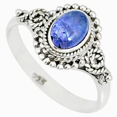 925 silver 1.46cts natural blue tanzanite solitaire handmade ring size 7 r82224