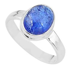 925 silver 3.98cts natural blue tanzanite solitaire ring jewelry size 7.5 t13017