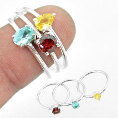 925 silver 2.98cts natural blue topaz citrine garnet 3 rings size 8 t51012