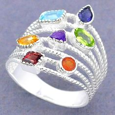 925 silver 3.19cts natural blue topaz cornelian chakra ring size 6.5 t3789