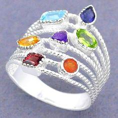 925 silver 3.01cts natural blue topaz cornelian garnet chakra ring size 6 t3820