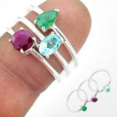 925 silver 3.13cts natural blue topaz emerald red ruby 3 rings size 6.5 t50928