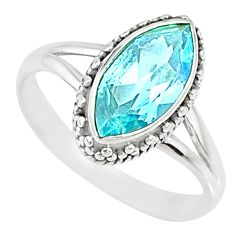925 silver 3.93cts natural blue topaz marquise solitaire ring size 7 r74724