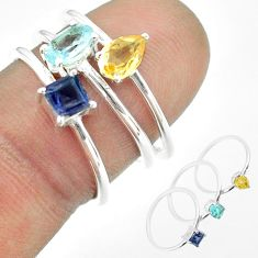 925 silver 2.81cts natural blue topaz oval citrine iolite 3 rings size 7 t51169