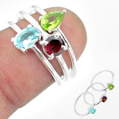 925 silver 2.72cts natural blue topaz oval peridot garnet 3 rings size 6 t51159