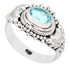 925 silver 1.16cts natural blue topaz oval shape 14k gold ring size 6 r83939