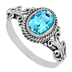 925 silver 2.12cts natural blue topaz oval shape solitaire ring size 8.5 r57464