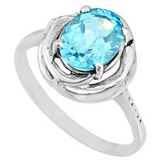 925 silver 3.29cts natural blue topaz oval shape solitaire ring size 8 r68629