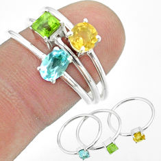 925 silver 2.82cts natural blue topaz peridot citrine 3 rings size 8 t51007