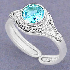 925 silver 2.11cts natural blue topaz round adjustable ring size 8.5 t8518