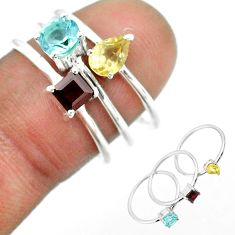 925 silver 2.95cts natural blue topaz round citrine garnet 3 rings size 7 t51133