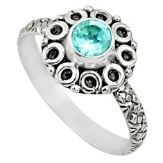 925 silver 0.99cts natural blue topaz round shape solitaire ring size 8.5 r64784