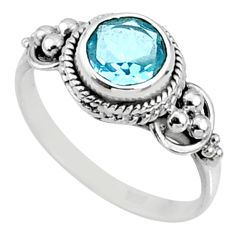 925 silver 2.28cts natural blue topaz round shape solitaire ring size 7 r64803