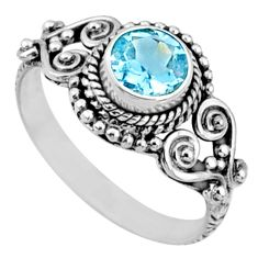 925 silver 1.22cts natural blue topaz round solitaire ring size 7.5 r64927