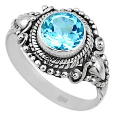 925 silver 2.61cts natural blue topaz round solitaire ring size 7.5 r64984