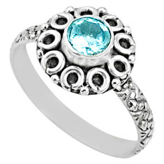 925 silver 0.99cts natural blue topaz round solitaire ring size 8 r64824