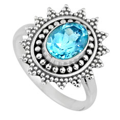 925 silver 2.17cts natural blue topaz solitaire ring jewelry size 6.5 r57499