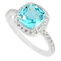 925 silver 4.89cts natural blue topaz topaz cushion solitaire ring size 8 r84048